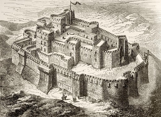 Artist´s impression of Krak or Crac des Chevaliers crusader castle, Syria  From Military and Religious Life in the Middle Ages by Paul Lacroix published London circa 1880 : Stock Photo