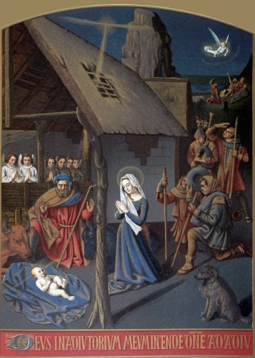 Stock Photo: 1566-781321 Nativity scene, after a miniature by Jehan Foucquet  From Military and Religious Life in the Middle Ages by Paul Lacroix published London circa 1880