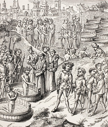 Baptism of the Saxons conquered by Charlemagne  After a 15th century miniature  From Military and Religious Life in the Middle Ages by Paul Lacroix published London circa 1880 : Stock Photo