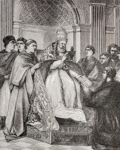 Stock Photo: 1566-781328 Pope Gregory IX handing the Decretals to an advocate of the Consistory  After a fresco by Raphael in the Vatican  From Military and Religious Life in the Middle Ages by Paul Lacroix published London circa 1880