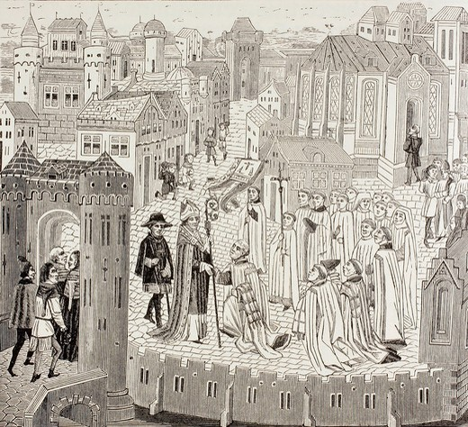 Stock Photo: 1566-781331 Saint Gaugericus, in French Saint Géry, also known as Gorik, Gau, in Walloon, Djèri, ca  550 - ca  626  Bishop of Cambrai  Here seen arriving at the city for his appointment  The abbey of St  Medard which he later founded is also shown  From Military and. Saint Gaugericus, in French Saint Géry, also known as Gorik, Gau, in Walloon, Djèri, ca  550 - ca  626  Bishop of Cambrai  Here seen arriving at the city for his appointment  The abbey of St  Medard which he later founded is also shown  From Mi