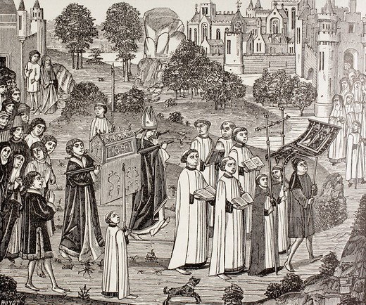 Count Renier bearing the body of Saint Veronica to St  Waudru church in Mons  After a 15th century miniature  From Military and Religious Life in the Middle Ages by Paul Lacroix published London circa 1880 : Stock Photo