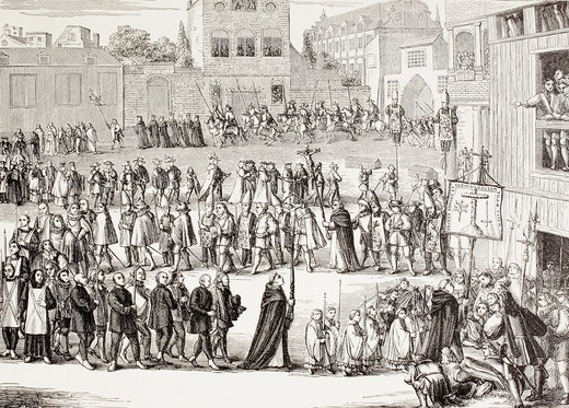 An Auto-da-fe, or Act of Faith, procession in Spain  After a 15th century engraving  From Military and Religious Life in the Middle Ages by Paul Lacroix published London circa 1880 : Stock Photo