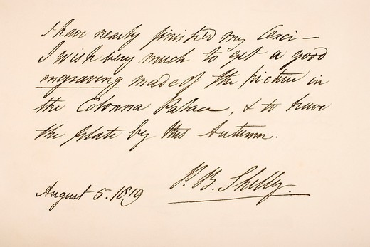 Percy Bysshe Shelley, 1792 – 1822  English Romantic poet  Hand writing sample : Stock Photo