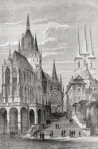 Erfurt Cathedral on the left and St  Severus Church on the right, Cathedral Hill, Erfurt, Thuringia, Germany in the 19th century  From El Mundo en la Mano, published 1878 : Stock Photo