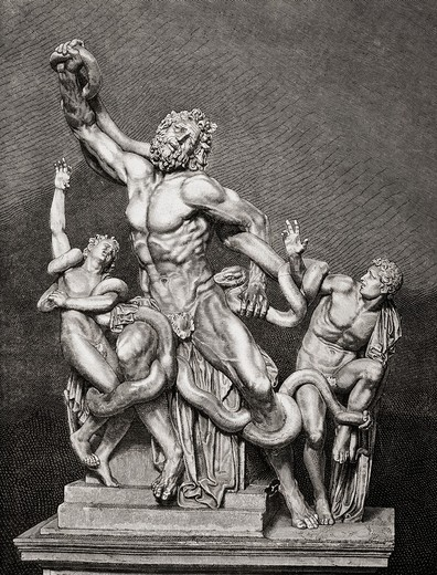 Stock Photo: 1566-781478 Illustration after the statue Laocoön and his Sons, attributed to sculptors Agesander, Athenodoros and Polydorus from Rhodes  From El Mundo Ilustrado, published Barcelona, 1880