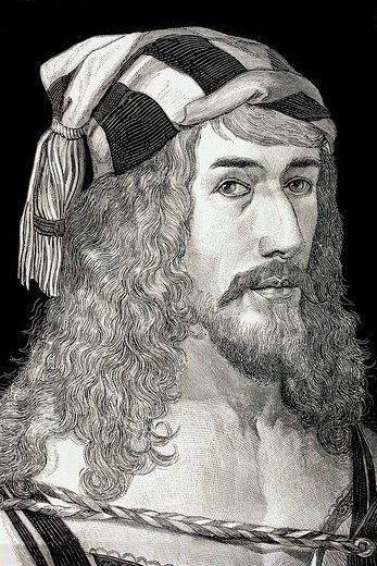 Albrecht Dürer, 1471 to 1528  German painter, printmaker and theorist  After his self portrait  From El Mundo Ilustrado, published Barcelona, 1880 : Stock Photo