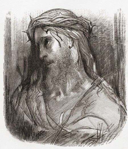 Head of Christ, after the original drawing by Gustave Dore  From Life and Reminiscences of Gustave Dore, published 1885 : Stock Photo