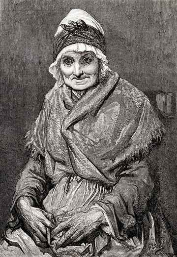 Stock Photo: 1566-781548 After a drawing done in 1880 by Gustave Dore of his nurse Francoise  From Life and Reminiscences of Gustave Dore, published 1885