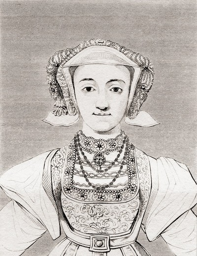 Anne of Cleves, 1515 - 1557  German noblewoman and the fourth wife of Henry VIII of England  From The Historic Gallery of Portraits and Paintings, published 1808 : Stock Photo