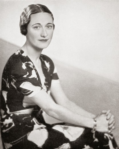 Stock Photo: 1566-781734 Wallis Simpson, previously Wallis Spencer, later the Duchess of Windsor, 1896 - 1986  American socialite whose third husband, Prince Edward, Duke of Windsor, formerly King Edward VIII, abdicated his throne to marry her  From Edward VIII His Life and Reign