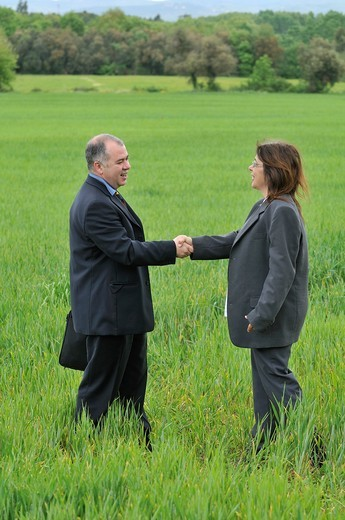 businesswoman and businessman shaking hands in green nature : Stock Photo