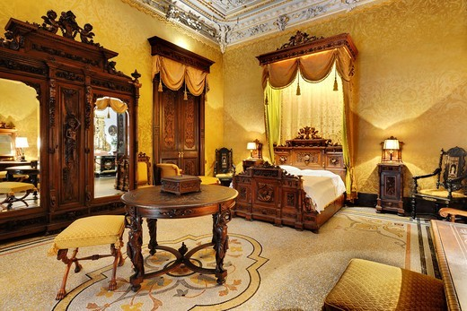 Bedroom, Palazzo Parisio, Naxxar, Malta : Stock Photo