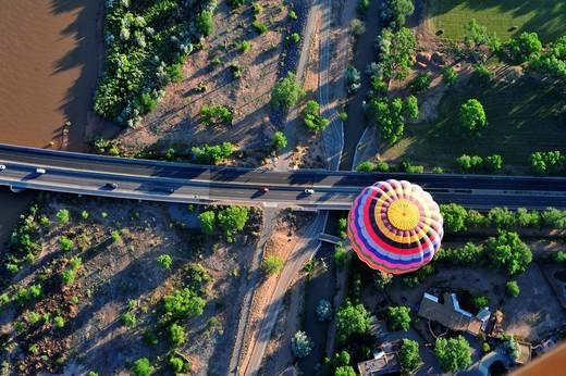 Albuquerque New Mexico hot air balloon over Rio Grande : Stock Photo