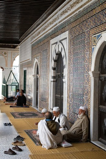 Tripoli, Libya - Old Men Talking, Karamanli Mosque, 18th Century : Stock Photo