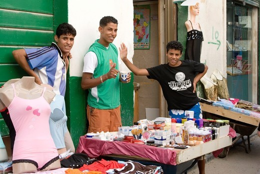 Tripoli, Libya - Medina Street Scene, Young Men Selling Clothes, Cosmetics, Toiletries : Stock Photo