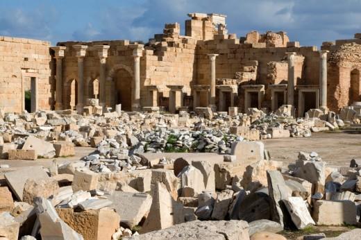 Leptis Magna, Libya - Severan Forum, 3rd  century : Stock Photo