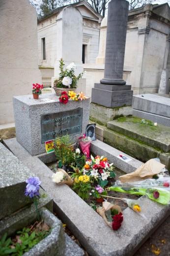 Stock Photo: 1566-784090 Jim Morrison tomb Pere Lachaise cemetery Paris France