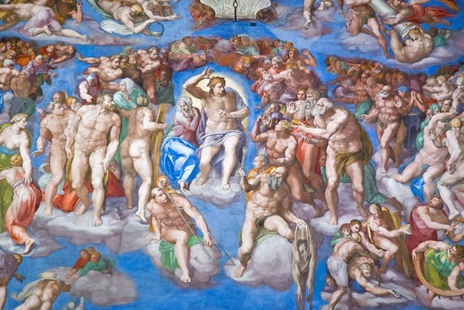 Detail of Michelangelo´s ´Last Judgement´, Rome, Italy : Stock Photo