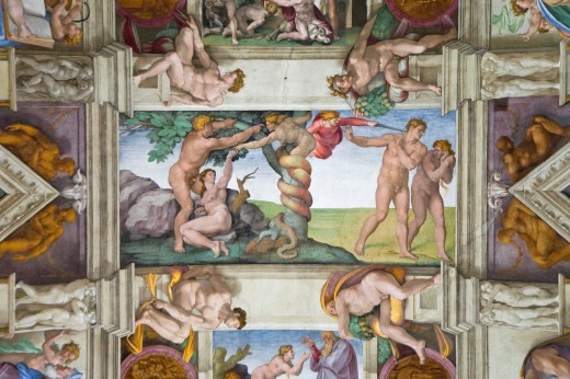 Stock Photo: 1566-784987 Detail of Michelangelo´s Sistine Chapel, Rome, Italy