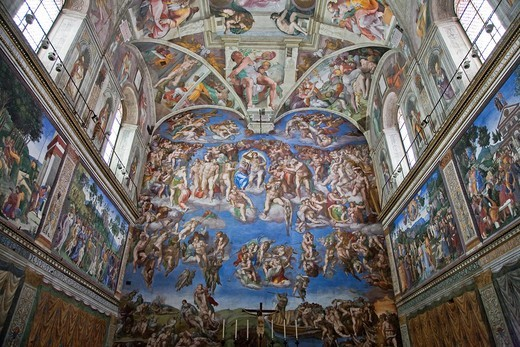 Stock Photo: 1566-784991 Michelangelo´s Sistine Chapel and The Last Judgement, Rome, Italy