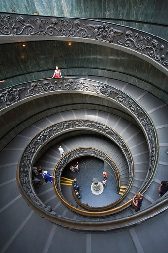 Main staircase, Musei Vaticani, Rome, Italy : Stock Photo