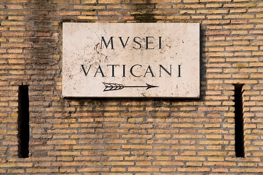 Stock Photo: 1566-785026 Vatican Museums sign, Rome, Italy
