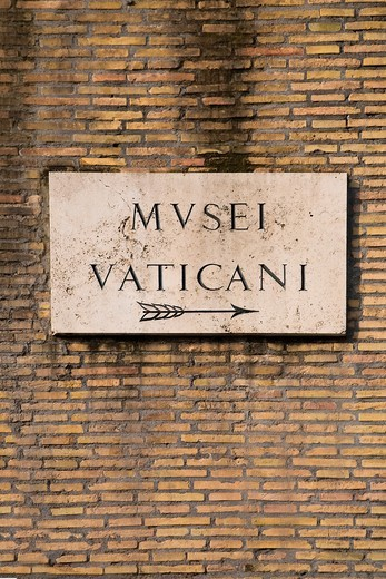 Vatican Museums sign, Rome, Italy : Stock Photo