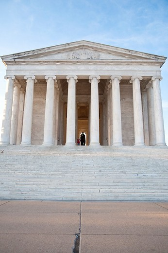 A single person admiring the statue of Thomas Jefferson at the Jefferson Memorial in Washington DC : Stock Photo