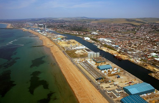 An aerial view of Shoreham harbour, Sussex : Stock Photo