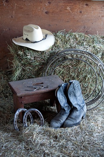 Various things found on a ranch : Stock Photo