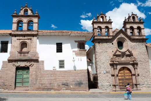 Small colonial churches on the Plazoleta de las Nazarenas in Cusco, Peru : Stock Photo