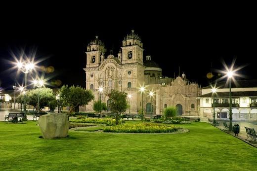 Jesuit Church of La Compañia on Plaza de Armas at night, Cusco, Peru : Stock Photo