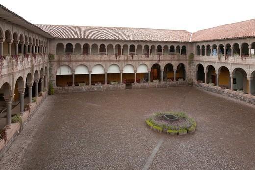 Courtyard of Church of Santo Domingo at Coricancha Temple site, Cuzco, Peru : Stock Photo