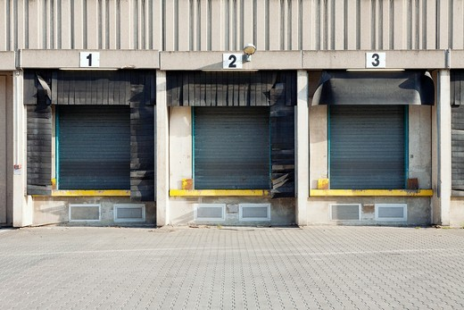 Commercial shipping warehouses and loading docks  Berlin, Germany : Stock Photo