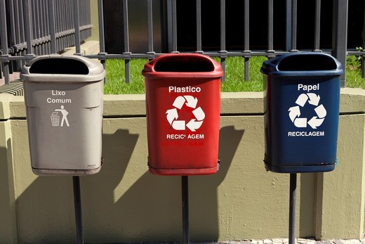 Stock Photo: 1566-786948 Trash bins for recycling, Rio de Janeiro, Brazil