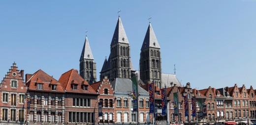 Cathedral Notre Dame de Tournai, Grand Place, Tournai, Hainaut, Wallonia, Belgium, Europe, : Stock Photo