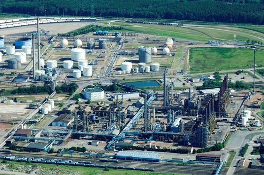 Stock Photo: 1566-787433 Aerial view of industrial Total petrochemicals platform, Carling/Saint Avold, Moselle, Lorraine, France