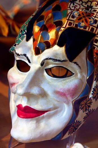 Carnival Mask in a Venice shop window, Venice, Italy, : Stock Photo