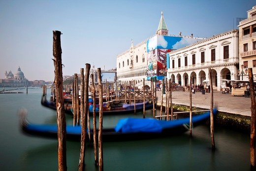 Stock Photo: 1566-788750 Gondolas near St Mark´s Square, Venice, Italy