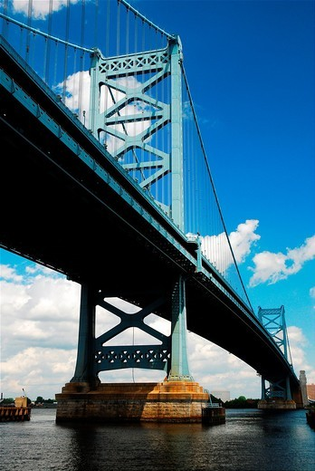 Stock Photo: 1566-788900 Ben Franklin Bridge, Philadelphia