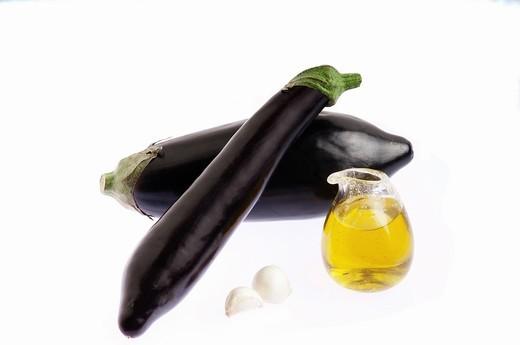 eggplant, olive oil, garlic : Stock Photo