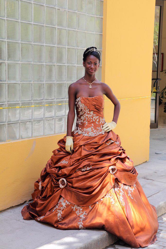 Quinceanera posing Cuban, Havana, Cuba : Stock Photo