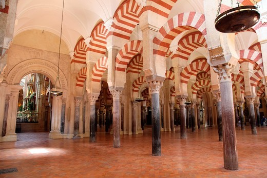 Columns Inside the Mosque of Cordoba, Spain : Stock Photo