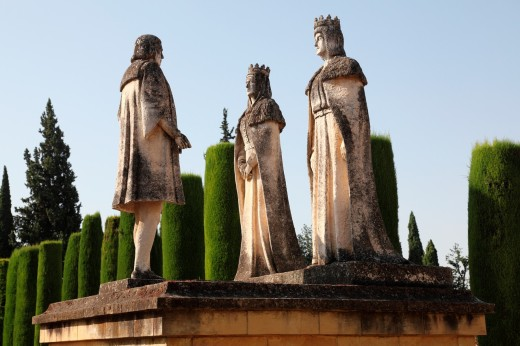 Stock Photo: 1566-790606 Statues of Queen Isabella, King Ferdinand and Christopher Columbus in the Alcazar gardens, Cordoba, Andalusia, Spain