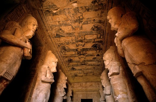 Stock Photo: 1566-790695 Giant statues inside the Abu Simbel temples, Nubia, Egypt