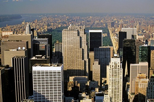 GE Building and Central Park seen from the Empire State Building, Manhattan, New York, USA : Stock Photo