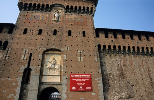 Stone walled exterior of Castello Sforzesco, Milan, Italy. : Stock Photo