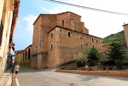 Stock Photo: 1566-792144 Parish church Villarroya de los Pinares village Teruel province Aragon Spain