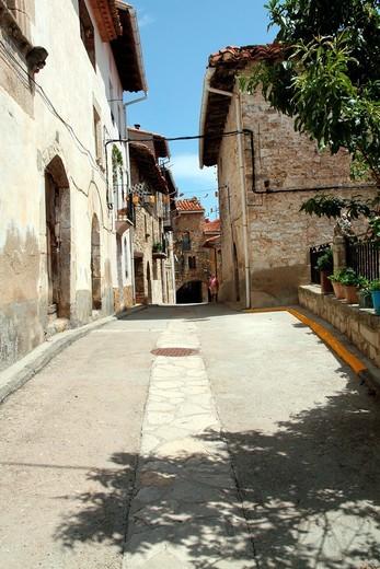Puertomingalvo village Teruel province Aragon Spain EU : Stock Photo